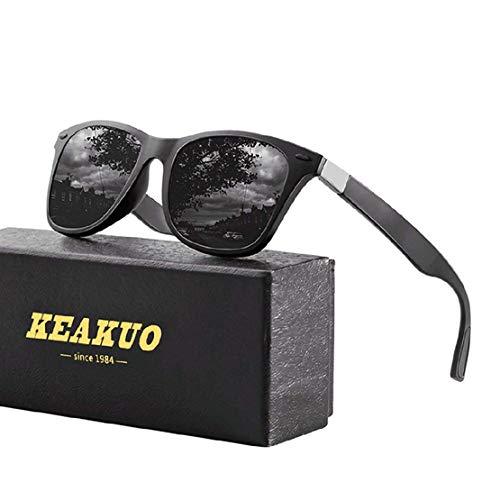 Sonnenbrillen Herren Polarisierte Mode Sonnenbrillen Damen - UV400 Schutz Unisex Sport im Freien Golf Radfahren Angeln Wandern polarisiertesonnenbrilleherren KEAKUO2150 (Schwarz schwarz, 60)