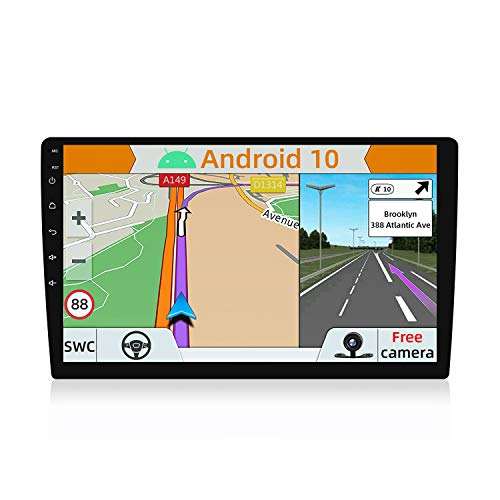 YUNTX Android 10 Universal Autoradio - 10.1 Pulgada Pantalla táctil - GPS 1 DIin - 2G+32G - Cámara Trasera Gratis - Soporte Dab+ / Control del Volante / 4G / WiFi/Bluetooth/AirPlay/Mirrorlink