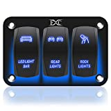 FXC Rocker Switch Aluminum Panel 3 Gang Toggle Switches Dash 5 Pin ON/Off 2 LED Backlit (for LED Light Bar,Rear Lights,Rock Lights) for Boat Car Marine Blue