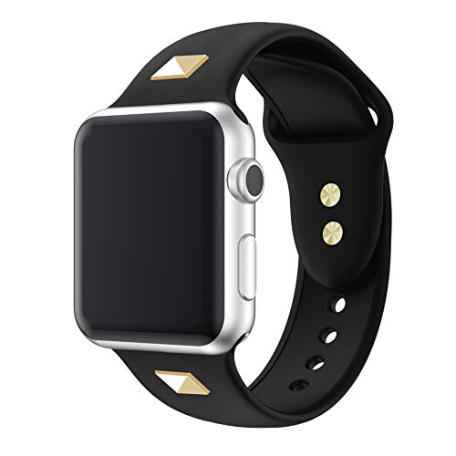 Willow nail Silicone Band Compatible for Apple Watch Band 38mm 42mm 40mm 44mm, Thin Soft Narrow Replacement Strap Wristband for iWatch Series SE/6/5/4/3/2/1 Women & Men 38mm/40mm