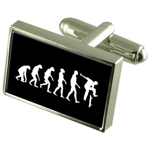 Evolution Affen zum Menschen Skateboard Manschettenknöpfe Crystal Krawattenklammer Bar Box Set eingraviert