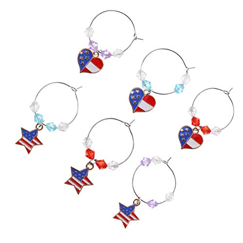 VALICLUD 6Pcs Goblet Ring Charm Independence Day Drink Beverage Glasses Cup Markers American Party Star Heart Pendant Goblet Recognizer for Women Men
