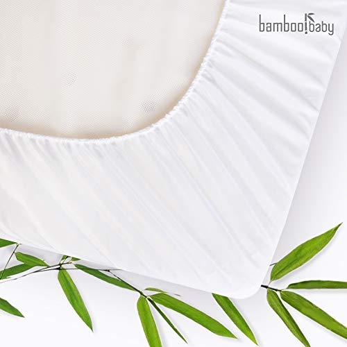 Protector de colchón antiácaros para cama infantil con la más fina superficie de fibra de bambú orgánica - impermeable, transpirable, hipoalergénico, ideal para la delicada piel del bebé. 70 x 140 cm.