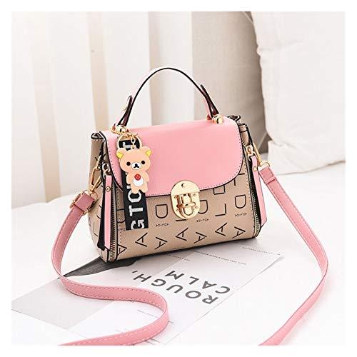 Youpin Bolso bandolera para mujer tipo cartera de piel sintética de alta calidad para niñas en diagonal, color a juego, informal, moda pequeña, cuadrada, color rosa