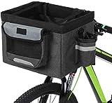 JKUNYU Accesorios Conejo bicicleta plegable bolsa delantera de la bicicleta cesta extraíble moto gato del perro del bastidor de soporte acampar bolsa de asas bicicleta bolsa (Color: Negro, tamaño: un