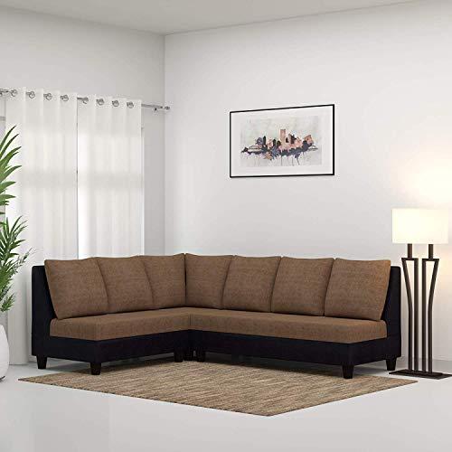 CasaStyle - Audrey 6 Seater L Shape Sofa Set (Camel & Black) | Deep Seating and Spacious Design I 32 Density Soft & Comfortable | 3 Yr. Assurance