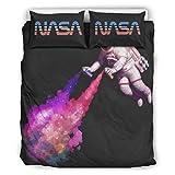 Wujin Set mit 3 warmen Bettlaken-Set, NASA Astronauten-Spray, bedrucktes Bettlaken-Set NASA Astronaut, Polyester, weiß, 168x229cm