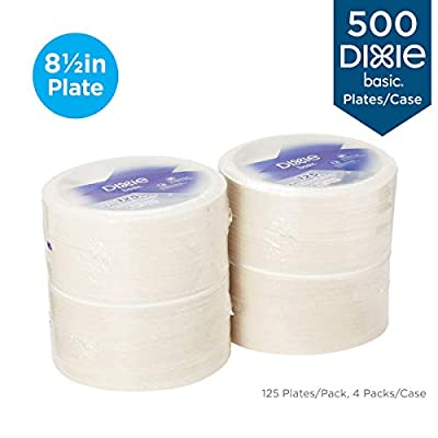 "Dixie Basic 8.5"" Light-Weight Paper Plates by GP PRO (Georgia-Pacific), White, DBP09W, 500 Count (125 Plates Per Pack, 4 Packs Per Case)"