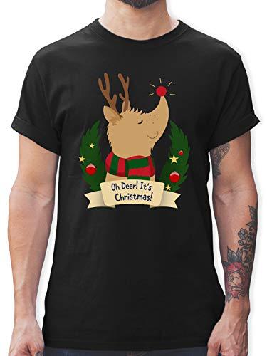 Weihnachten & Silvester - Rudolph - It's Christmas - XXL - Schwarz - Christmas Tshirt - L190 - Tshirt Herren und Männer T-Shirts