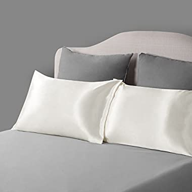 Bedsure TWO-Pack Satin Pillowcases Set for Hair COOL and EASY TO WASH Standard Size/Queen Size 20x30 Ivory with Envelope Closure