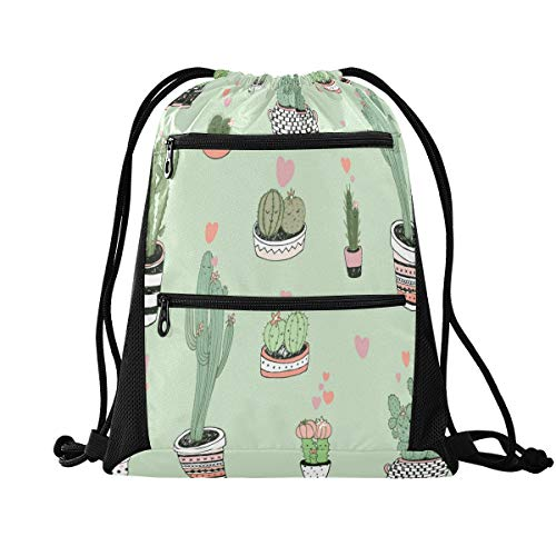 HMZXZ RXYY Tropical Cactus Love Pattern Drawstring Gym Bagwith zip pocket Sackpack Drawstring Cinch Backpack Sport Rucksack Daypack Travel Yoga for Men Women Boys Girls