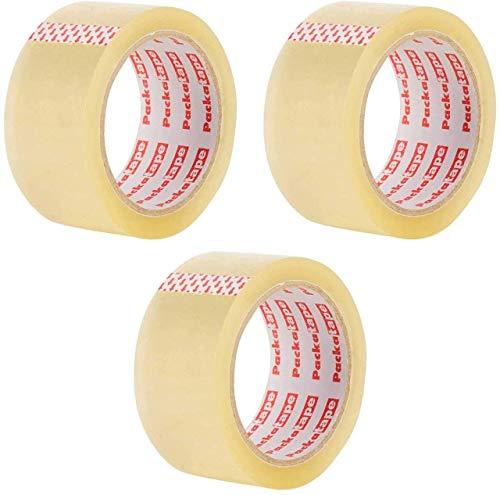 3 Rollos Cinta Embalar Adhesiva 48MMx 66M para Cajas y