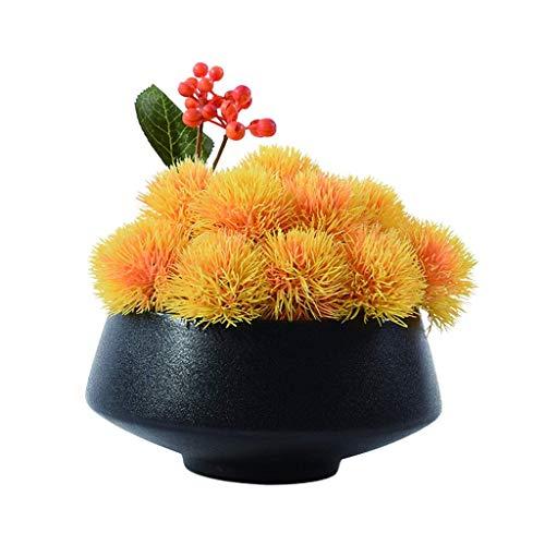 JIN Bonita Decoración Flores Artificiales Amarillo Flor Artificial Bonsai Estilo Minimalista Creativo para Oficina Sala de Estar de 6,7 Pulgadas Flor Falsa Bonsai con Eta Flores Falsas