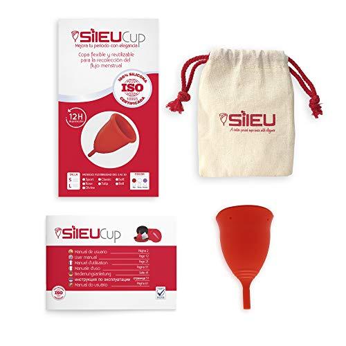 Copa Menstrual Sileu Cup Tulip - Alternativa ecológica y natural a tampones y compresas - Las mejores opiniones de nuestros clientes, recomendada por ginecólogos - Talla S, Rojo