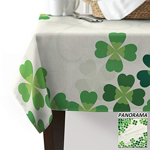 ARTSHOWING St. Patrick's Day Rectangle Tablecloth Lucky Shamrocks Celtic Irish Clover Celebration Day Cotton Linen Table Cover for Kitchen Dinning Tabletop Decoration 54x87inch