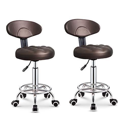 Verstelbare stoelen, computerstoel, bureaustoel, taakstoel,5 ronden beweegbare roterende lift kleine rugleuning schoonheid kapstoel voor 75-100 cm Bar Counter Brown×2