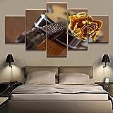 QWRTU Cuadro En Lienzo 5 Pieza Instrumentos Musicales Cuadros Modernos Impresión de Imagen Artística Digitalizada Lienzo Decorativo para Tu Salón o Dormitorio Cuadro En Lienzo 5 Pieza 150x80cm