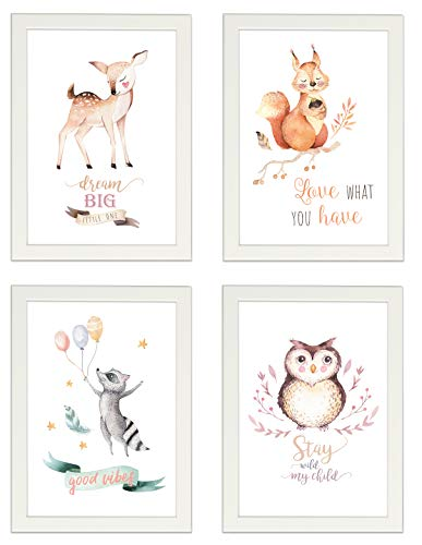 PICSonPAPER Kinder Poster 4er-Set Waldtiere, Weiss gerahmt DIN A4, Dekoration fürs Kinderzimmer, Babyzimmer, Kinderposter, Babyposter, Wasserfarben, Wandbild (Weiss gerahmt DIN A4)