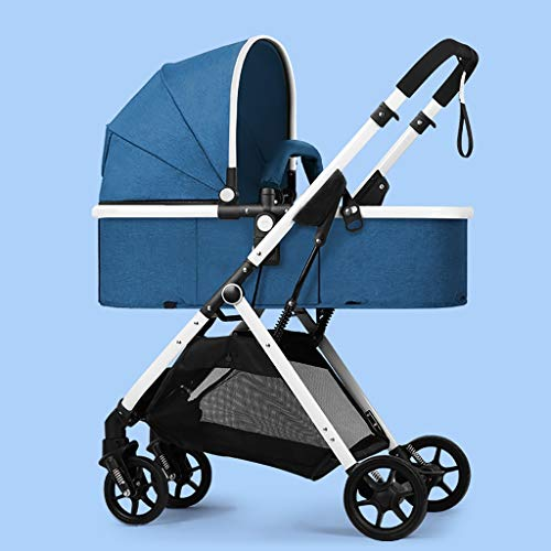 Find Bargain JIAX Foldable Baby Stroller,Travel System with Baby Basket Anti-Shock Springs Newborn Baby Pushchair Adjustable High View Pram Travel System Infant Carriage Pushchair (Color : Blue)