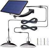 Solar Pendant Light with Dual Head Hanging Shed ,Kyson 32 LED Outdoor Security Lights Auto ON Off for Porch Garage Storage Room Use