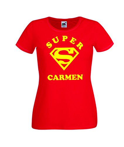 Camisetas divertidas Child Super Carmen - para Mujer Camisetas Talla Medium Color Rojo