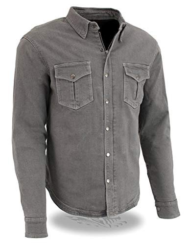 Milwaukee Performance MPM1621 Men's Grey Armored Denim Shirt with Aramid by DuPont Fibers - Medium