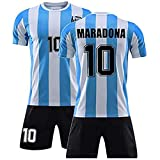Diego Maradona #10 Argentina Home Soccer Jersey Commemorative Football Jersey Set 1986 Argentina World Cup Football Commemorative T Shirt - The Left Hand of God Forever, (1986 Maradona, XL)