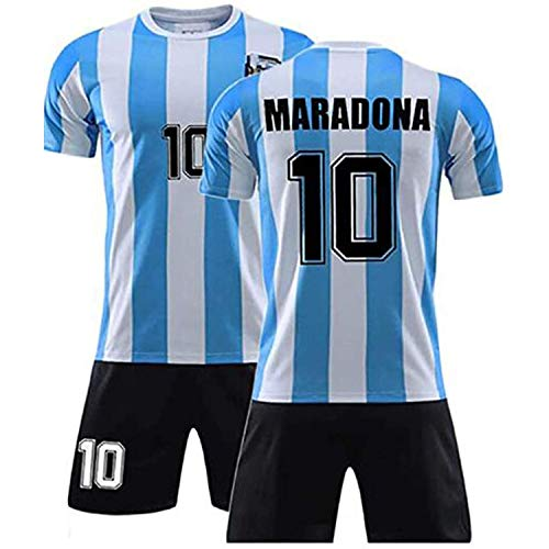 Diego Maradona #10 Argentina Home Soccer Jersey Commemorative Football Jersey Set 1986 Argentina World Cup Football Commemorative T Shirt - The Left Hand of God Forever, (1986 Maradona, S)