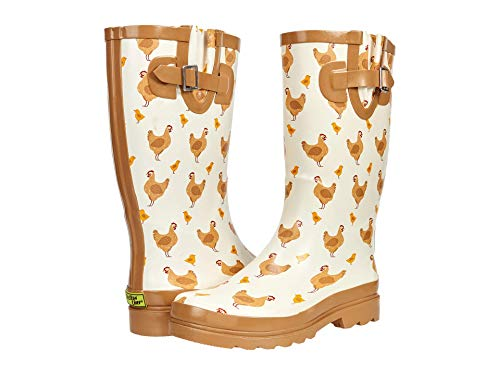 Western Chief Printed Tall Rain Boot Taupe Chicken 9 M