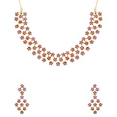 Metal : Brass With Gold Plated Sales Package : 1 Necklace; 2 Earrings Gross Weight : 58.3 gms Design Length : 0.85 inches|Necklace Width : 7 inches|Earring Width : 1 inches|Earring Length : 2.25 inches|Necklace Length : 16 inches