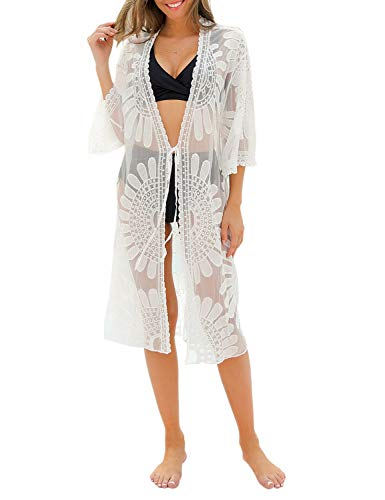 Blooming Jelly Women's Swimsuit Cover Ups Lace Floral Crochet Beachwear Long Kimono Cardigan White