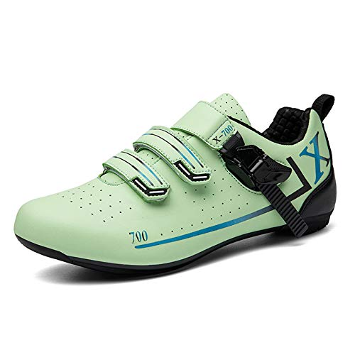 Tmpty Bicycle Men's Road Cycling Riding Shoes Microfiber Breathable Locking Shoes Indoor And Outdoor Cycling (Color : Green, Size : 10)