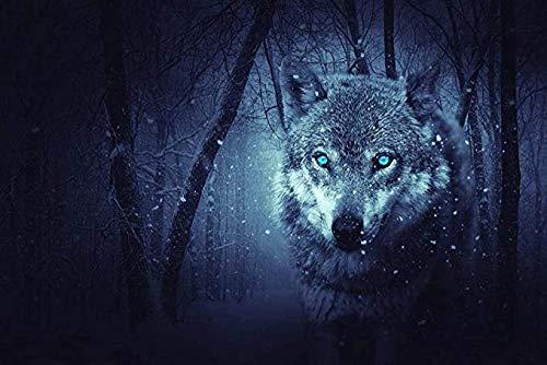 DMTWSM Rompecabezas para Adultos 500 Piezas Childs Jigsaw Puzzle Wolf Under Snow At Nightlearning Educación Juego de descompresión Juguetes Regalo