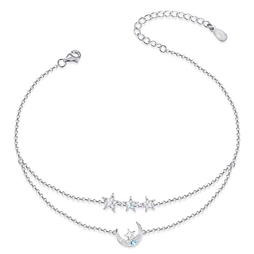 ATTRACTTO Moon Star Ankle Bracelets for Women 925 Sterling Silver Layered Anklets for Sea Beach Adjustable Foot Ankle for Teen Girls