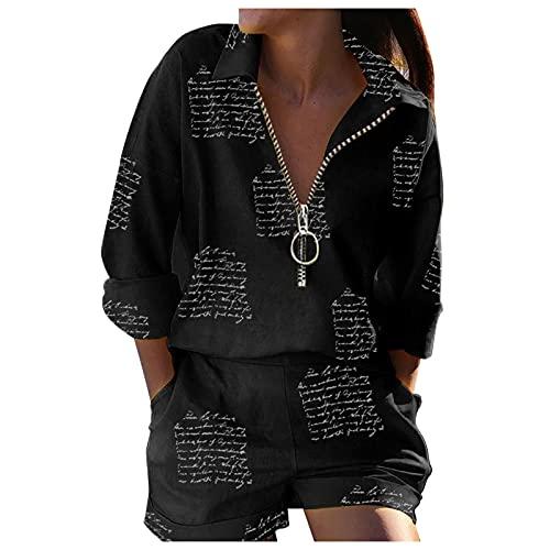 Esque Conjunto De Mujer Manga Larga con Cremallera + PantalóN Corto, Informal, Dos Piezas,Mariposa ImpresióN Blusa Camisa Bolsillo Pantalones,CháNdal Camisas Fitness Chaqueta Hoodie-Negro-M