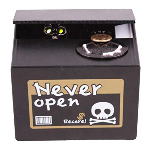 Creepy Bank Roba tu Dinero Esqueleto Hucha Decoración para el hogar de Halloween Nunca Abra la Caja de Dinero Moneda del cráneo@Segundo
