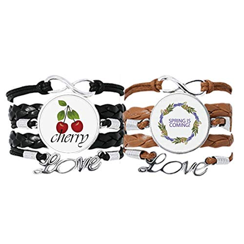 Bestchong Round Garland Blue Flower Plant Bracelet Hand Strap Leather Rope Cherry Love Wristband Double Set