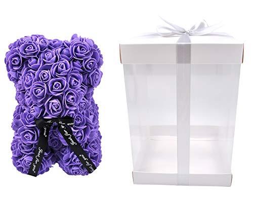 Regalo de Oso Rosa Creativo de San Valentín con Caja de Regalo combinada, Lindo jabón de Rosas Hecho a Mano, Oso de Flores Artificiales, Oso de Juguete para Regalo de cumpleaños (Purple-Bear)