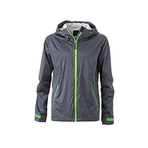 JAMES & NICHOLSON - Veste Softshell imperméable et Respirante - Trekking - Sports - JN1098 - Homme (Gris Fer - Vert -M)