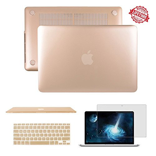 MacBook Air 11.6 inch Case, IC ICLOVER Rubberized Matte Hard Shell Plastic Case+Matching Keyboard Skin+LCD Screen Protector for MacBook Air 11.6'-Fits Model A1370 / A1465(Gold)