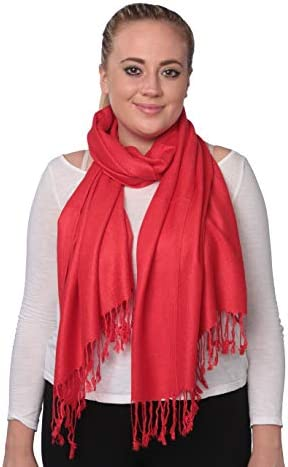 Women s Classic Elegant Bright Solid Colors Pashmina Silk Shawl Blend Soft Wrap Scarf Red product image