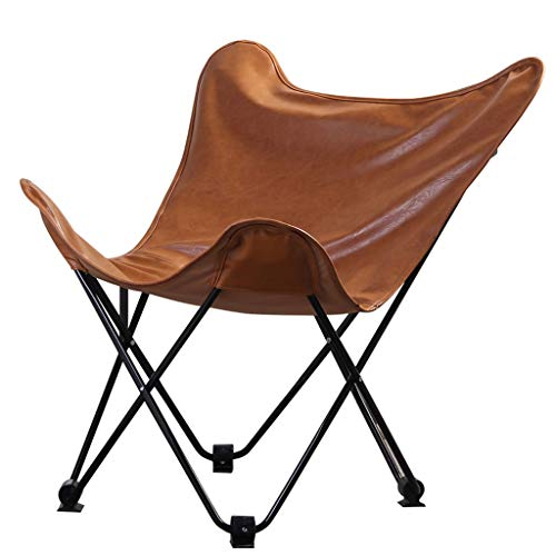 DUOER-pliantes Chaises Butterfly Chair avec Assise en Cuir, Brun | Fauteuil, siège Lounge pour Utilisation intérieure et extérieure Accessoire de Jardin Garden Home (Color : Brown)
