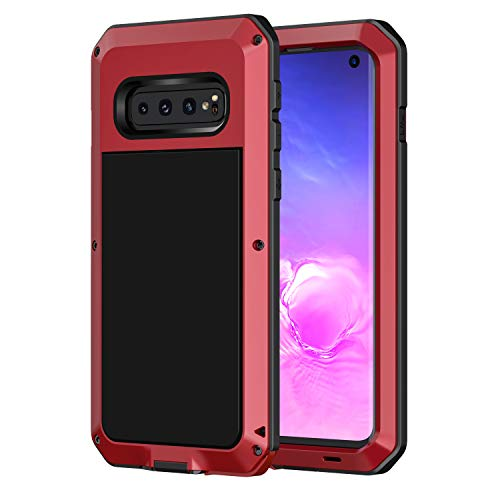 seacosmo Samsung Galaxy S10 Hülle, Aluminium Stoßfest Cover S10 Doppelte Schutz Outdoor Hülle Robust Schutzhülle für Galaxy S10, Rot