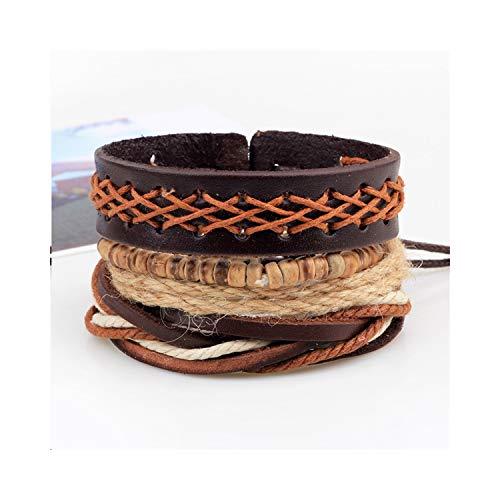 CNSP VIVIZEY 1~5Pcs / Set Wood Beads Wax Rope Leather Hemp Braided Bracelet Simple Leather Bracelet Multilayer Ethnic Wind Bracelet M 4PCS