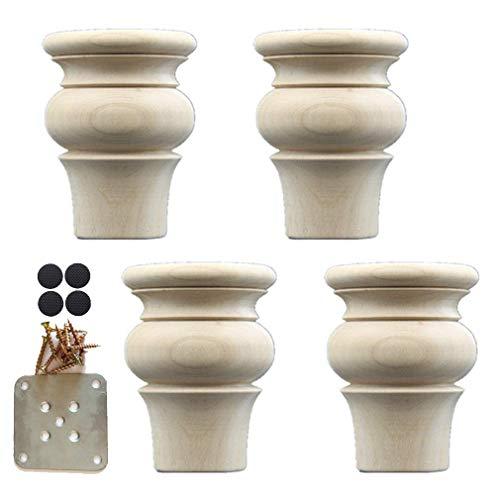 ZKORN Möbelbeine, 4er-Set Holzmöbelbeine, Eichen-Sofa-Füße, für Schrankstuhl Couch Tischbettfüße, mit Montageplatten und Schrauben, Super-Lastlager, natürliches Material, 4 Größen (2,4 Z