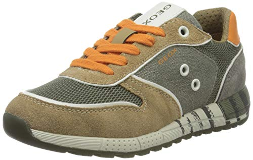 Geox Jungen J ALBEN Boy B Sneaker, Grün (Military/Orange C0623), 35 EU