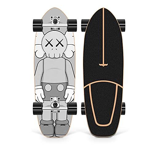 XKAI Skateboard de Surfskate para Adultos 75×23cm Tabla Completa para Principiantes Pumping CX4 Cruiser Monopatin Deck de Madera de Arce para Adolescentes, rodamientos ABEC-11
