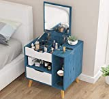 WWWFZS Juego de mesa de tocador nórdico moderno de madera, mesita de noche, muebles de dormitorio, tocador, con cajón de espejo, mini mesita de noche (color: azul)