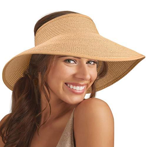 Maylisacc Faltbare Stroh-Sonnenblenden für Frauen, Sonnenschutz, breite Krempe, Sonnenhüte, verstellbare Topless Strandhut - - Einheitsgröße