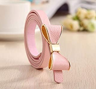 Luxury and Exquisite Female Belts for Women Style Summer 13 Color Women Belt Luxury Brand Colorful Bow Leather Belt Ladies Waist Ceinture Femme (Belt Length : 105CM, Color : Pink)